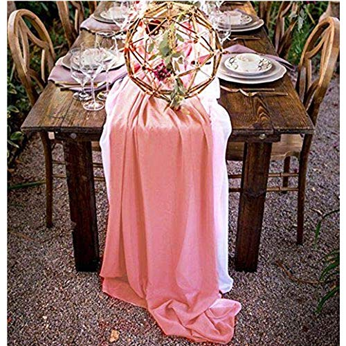QueenDream 27 x 120 Inches Coral Romantic Sheer Chiffon Table Runner for Wedding Linens Holiday Decoration -