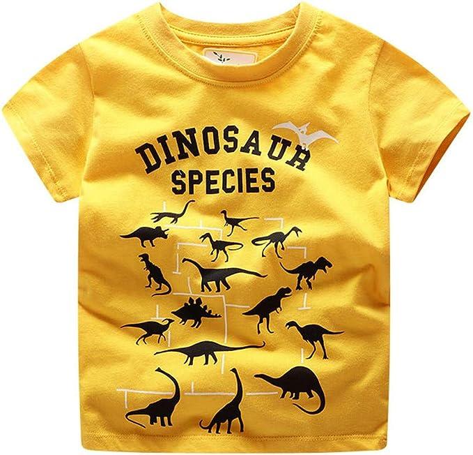 Bébé Garçons T-shirt d/'été Enfants Garçons Dessin Animé dinosaure en coton imprimé Tops Shirts