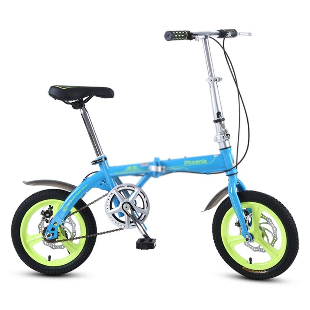 子ども用自転車 折りたたみ自転車一速自転車少年少女自転車小型自転車、高炭素鋼フレーム、16インチ (Color : Blue, Size : 16inches) 16inches Blue B07R9RLSX4