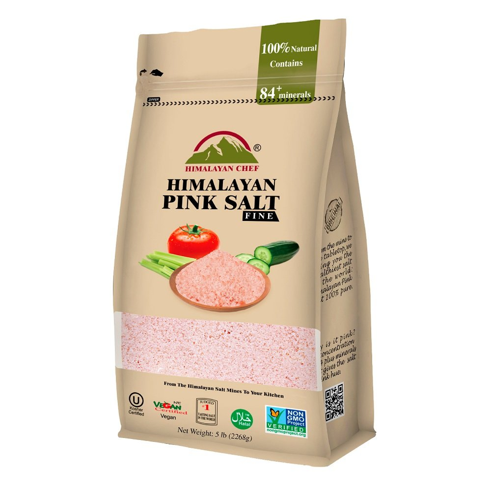 Himalayan Chef Fine Himalayan Pink salt, 5 Pound Fine Grains Bag. Incredible Taste,Rich in Nutrients and Minerals to improve your Health,Add to your Cart Today