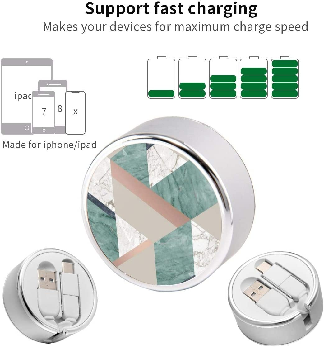 Multi Quick USB Charging Cable,Emerald Green Marble Geo 2 in1 Fast Charger Cord Connector High Speed Durable Charging Cord Compatible with iPhone//Tablets//Samsung Galaxy//iPad and More