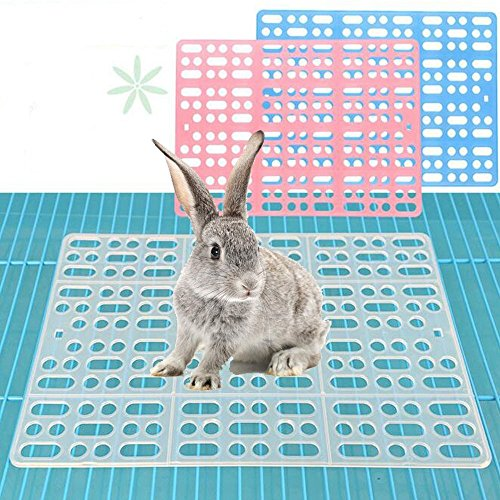 (Misyue 2 Pieces Pack Rabbit Mats for Cages Plastic Small Animal Cage Hole Mat Prevent Little pet Skin Disease with 4 Fixed Tabs (Blue)