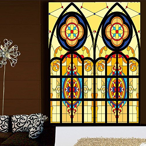 OstepDecor Custom Translucent Non-Adhesive Frosted Stained Glass Window Films 30