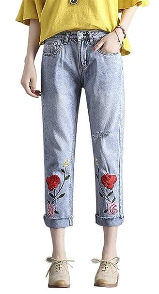 Saoye Fashion Pantalones Vaqueros De Mujer Bordado Rosa Slim ...