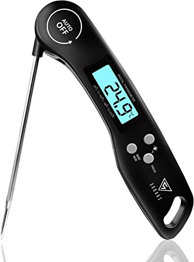 Vleesthermometer, DOQAUS Keukenthermometer Barbecuethermometer, Digitale Instant-thermometer met 3s Directe Uitlezing, Opvouwbare Lange Sonde en LCD-scherm, voor Keuken, Grill, BBQ, Baby Voeding