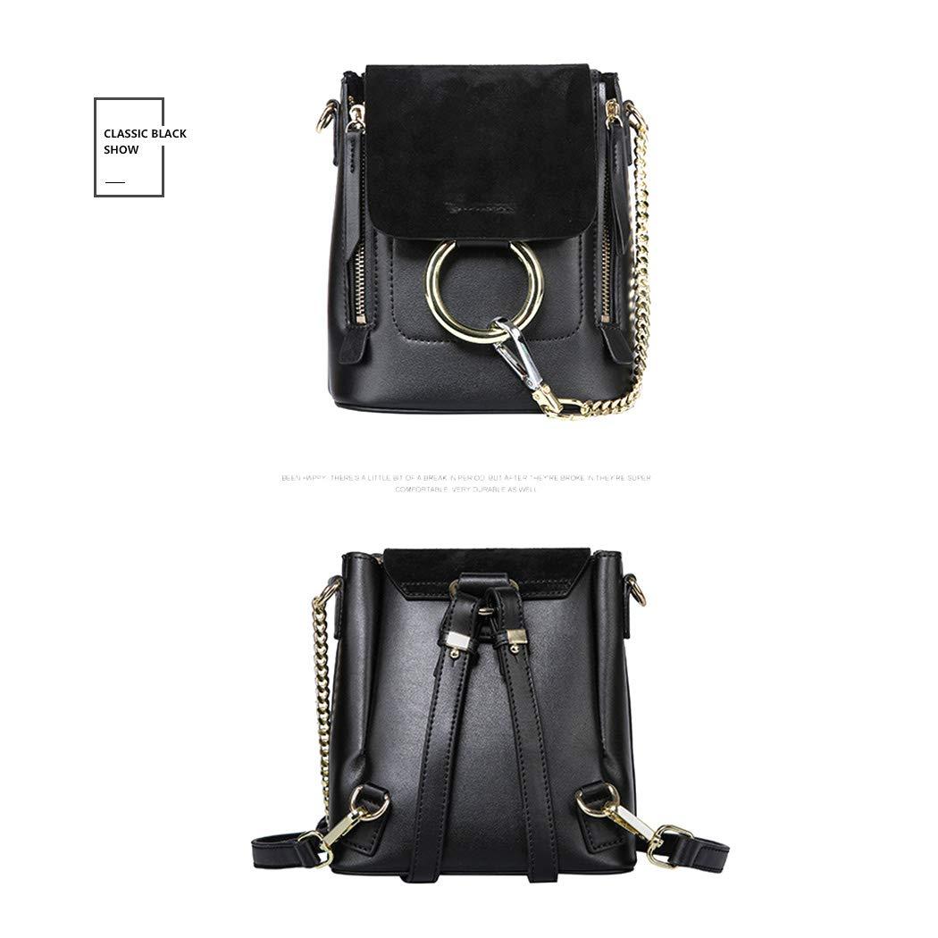 a6f724126d6aa IKUN-JJ Frau Leder Handtaschen Sommer Rucksack Damen Mehrzwecktasche Ring- Umhängetasche (Color   Black)  Amazon.de  Sport   Freizeit