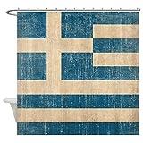 CafePress - Vintage Greece Flag - Decorative Fabric Shower Curtain