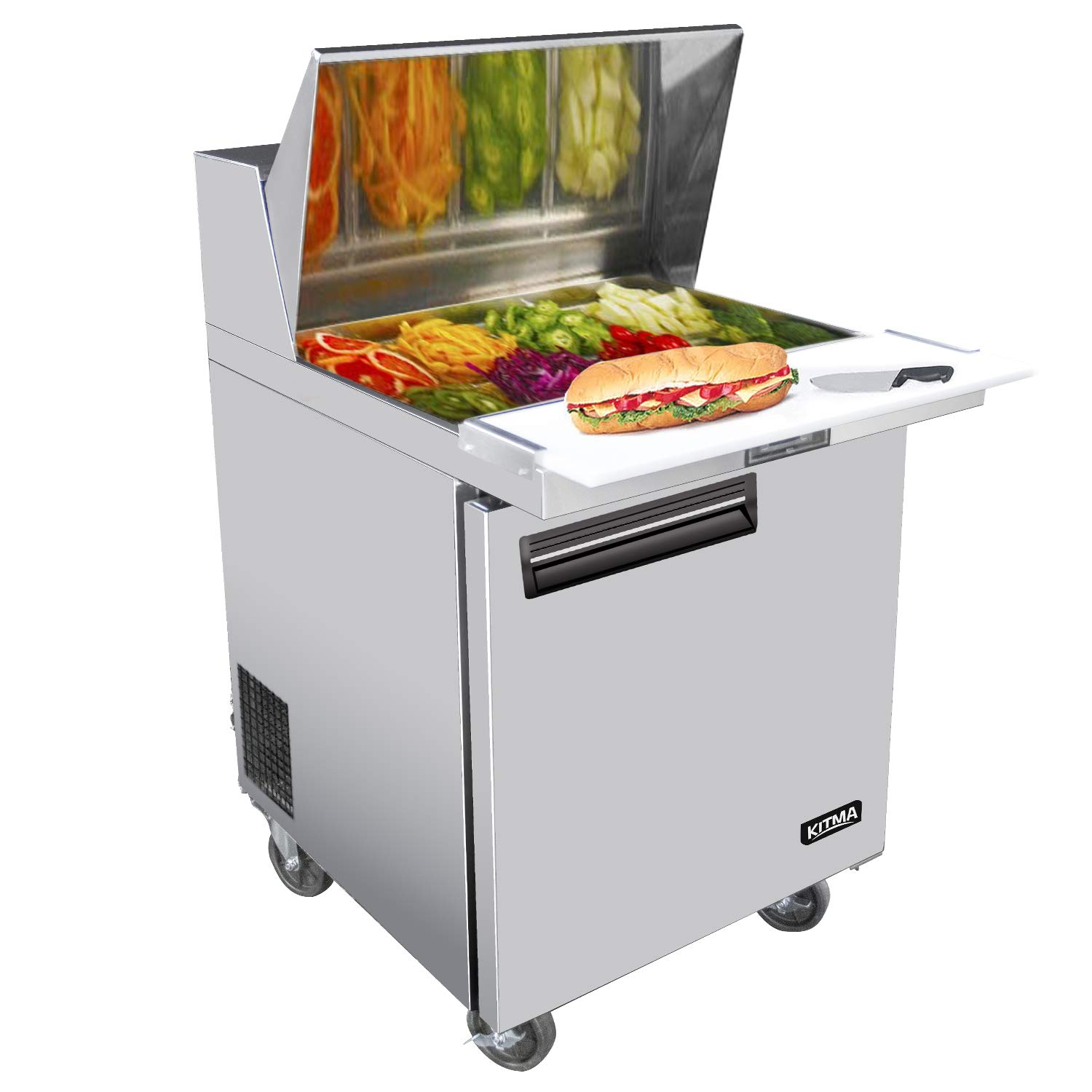 KITMA Single Door 28 Inches Sandwich Prep Cooler - 7.15 Cu. Ft Stainless Steel Salad Prep Station Table Refrigerator with Cutting Board and Pans, 33 °F - 38°F by KITMA