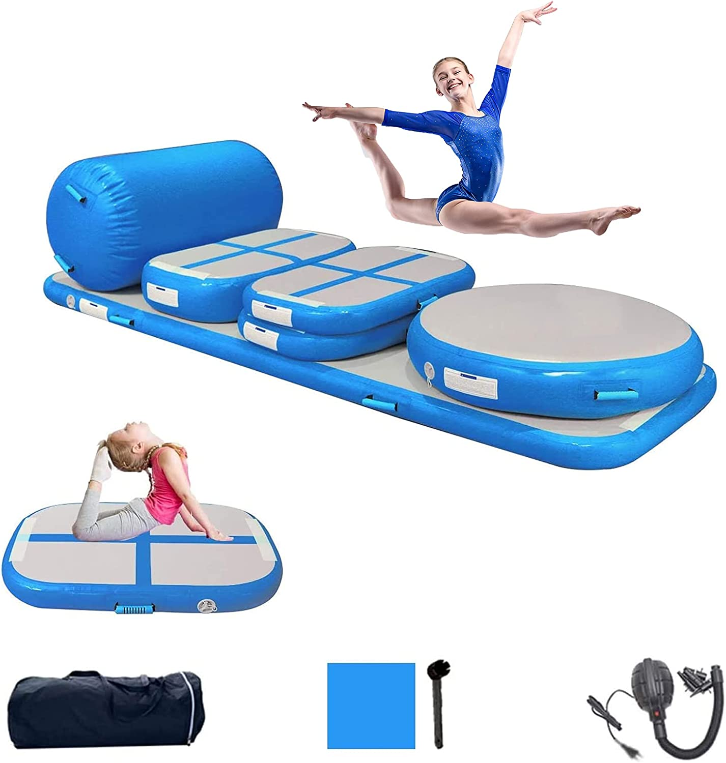 PPXIA Gymnastics Mat Inflatable Tumbling Mat 4 inches Thickness Air Floor Tumble Track Air Track Set with Pump for Training Cheerleading Home Use Beach Park and Water Use