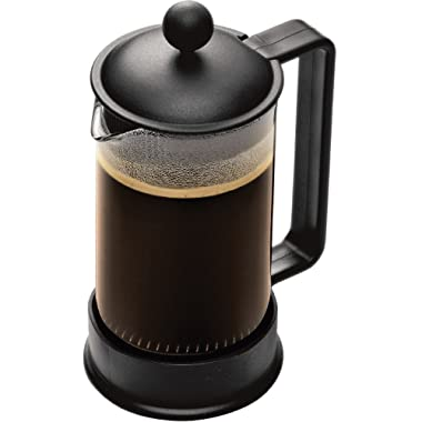 Bodum Brazil French Press Coffee Maker, 12 Ounce.35 Liter, (3 Cup), Black