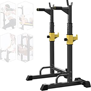 ASR-YD Squat Rack Multi-Function Barbell Rack Height Adjustable Dip Stand Home Gym Weight Lifting Bench Press Dip Station Push Up Portable Strength Training Dumbbell Rack,Max 250Kg