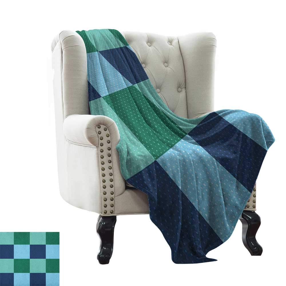 color02 30 x50  Inch Chunky Knit Blanket Navy and Teal,Classical Argyle Diamond Line Pattern Vintage Traditional colorful Retro, Multicolor Weighted for Adults Kids, Better Deeper Sleep 50 x60