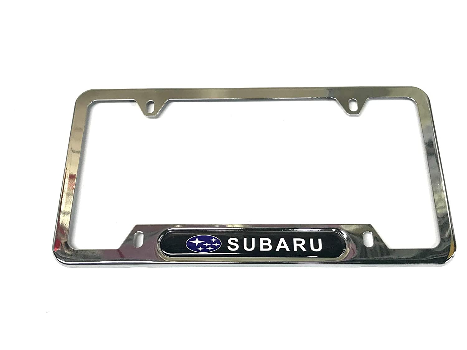 1 Black Auteal Car Stainless Steel Metal License Plate Tag Frame Cover Holders w//Caps Screws for Subaru