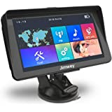 SAT NAV GPS Navigation System, 7 inch Sunshade 8GB 256MB Jimwey Car Truck Lorry Satellite Navigator Device with Post Code POI Search Speed Camera Alerts, with UK&EU 2018 Maps Lifetime Free Update