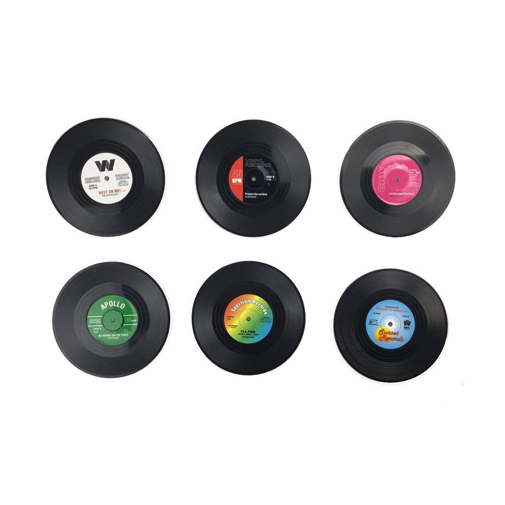 Retro Vinyl Record Disc Music Tabletop Drink Coasters Cup Mats for Bar Tea Coffee Beer Mug Pack of 12