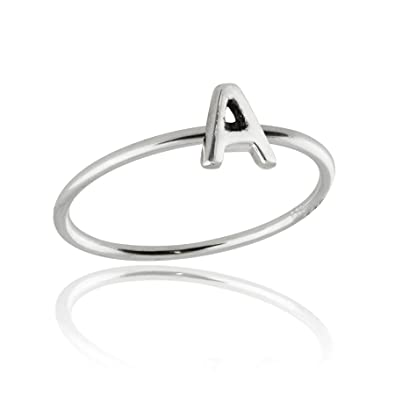 FashionJunkie4Life Sterling Silver Letter A Ring, Sizes 5-10, Initials  Words Stacking Bands