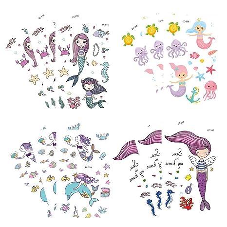 Toyvian Pegatinas de Tatuaje de Sirena de Dibujos Animados Pegatinas Decorativas de Animales Marinos a Prueba
