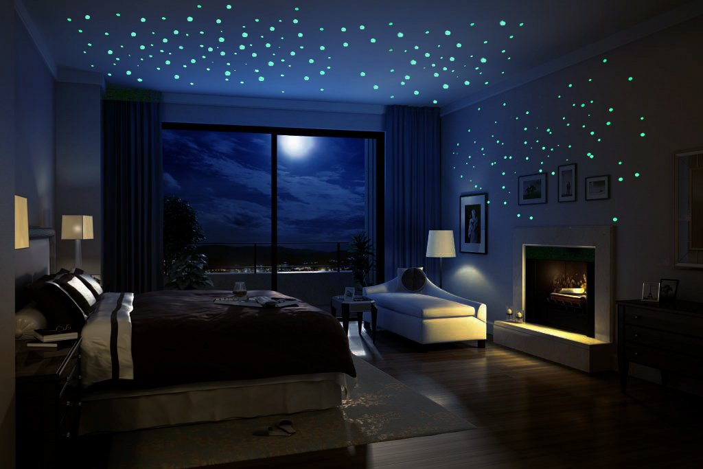 Glow in the Dark Stars Moon, Oumers 4 Packs of Adhesive Wall Ceiling Decals for Baby Kids Bedroom Nursery Home