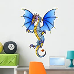 Blue Dragon Wall Decal By Wallmonkeys Peel And Stick Graphic (36 In H X 28