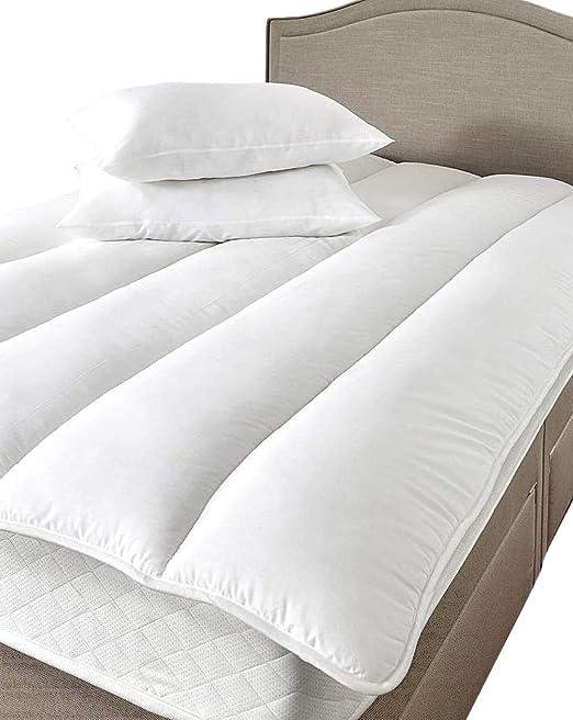 Mezcla de Algodón Relleno De Fibra Hueca Protector de colchón tamaño King Cama de Lancashire Ropa de Cama: Amazon.es: Hogar