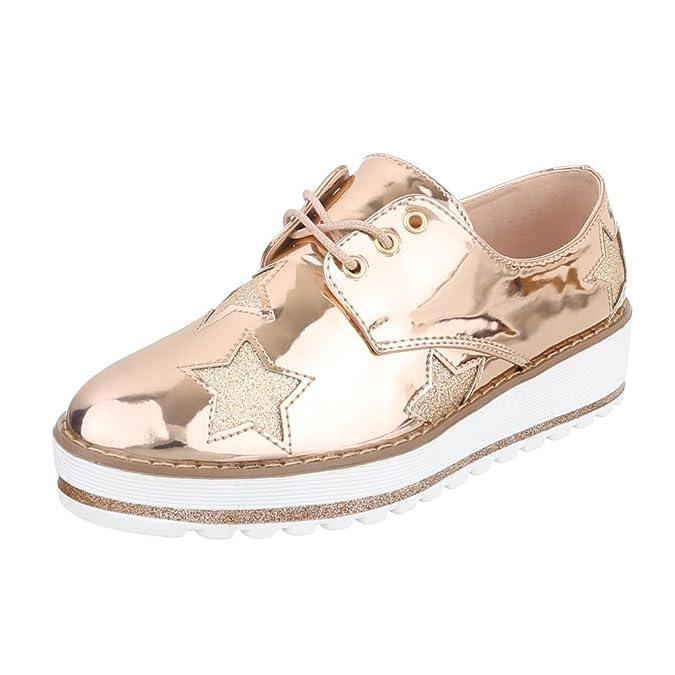 Ital-Design - Zapatos Planos con Cordones Mujer , color plateado, talla 37