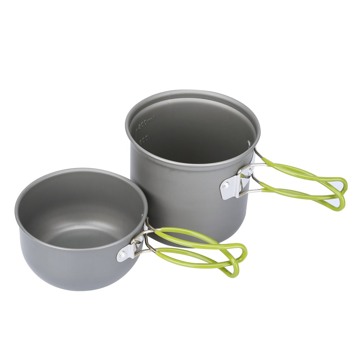 G4Free Outdoor Camping pan Hiking Cookware Backpacking Cooking Picnic Bowl Pot Pan Set 4 Piece Camping Cookware Mess Kit(2 PCS-Green) by G4Free