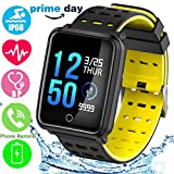 "1.3"" Color Touchscreen Sport Fitness Tracker with Heart Rate Blood Pressure Sleep Monitor IP68 Waterproof Pedometer Smartwatch for Kid Men Women Swim Run GPS Activity Tracker iOS Android Prime Deal"