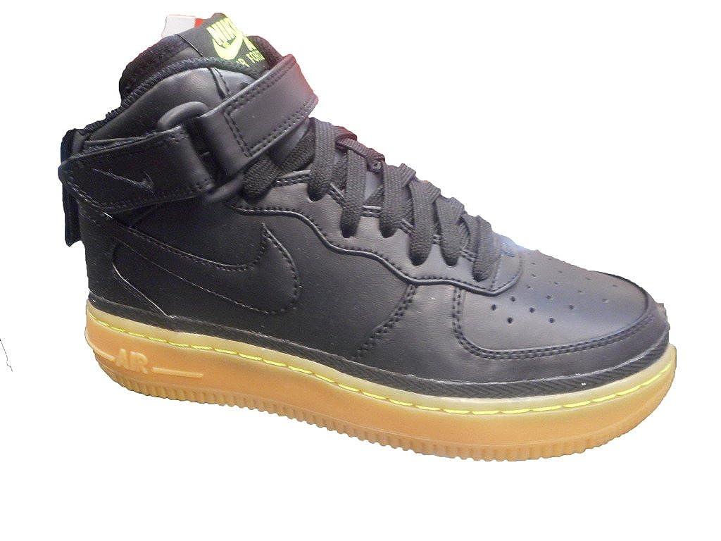 Nike Boys Air Force 1 Mid LV8 (GS) Black Gum Sneakers (6.5 M US Big Kid)