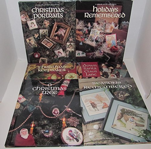 (Six Book Bundle Set of LEISURE ARTS PRESENTS Christmas Remembered Books, Includes: #2 Christmas Keepsakes - #3 Christmas portraits - #4 o christmas tree - #5 holiday Remembered - #8 down Santa Claus Lane - #9 Season Remembered)