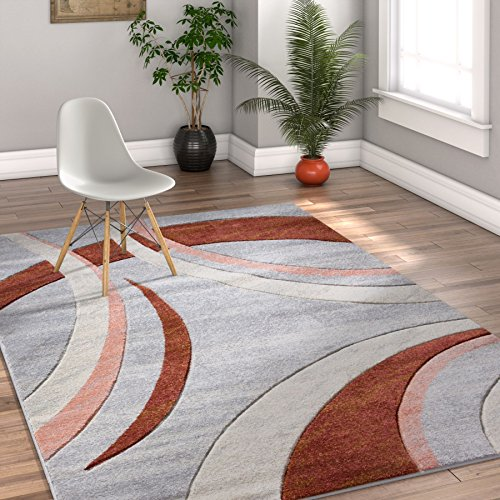 Faith Shapes Dusty Red Pink Grey Modern Geometric Hand Carved 8x10 (7'10'' x 9'10'' ) Area Rug Easy to Clean Stain & Fade Resistant Thick Soft Plush by Well Woven
