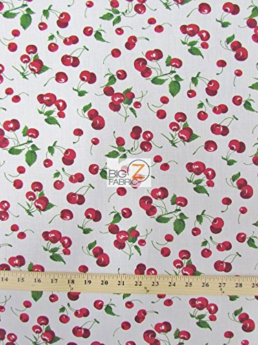 WHITE CHERRY FRUIT PRINT POLY COTTON FABRIC 58