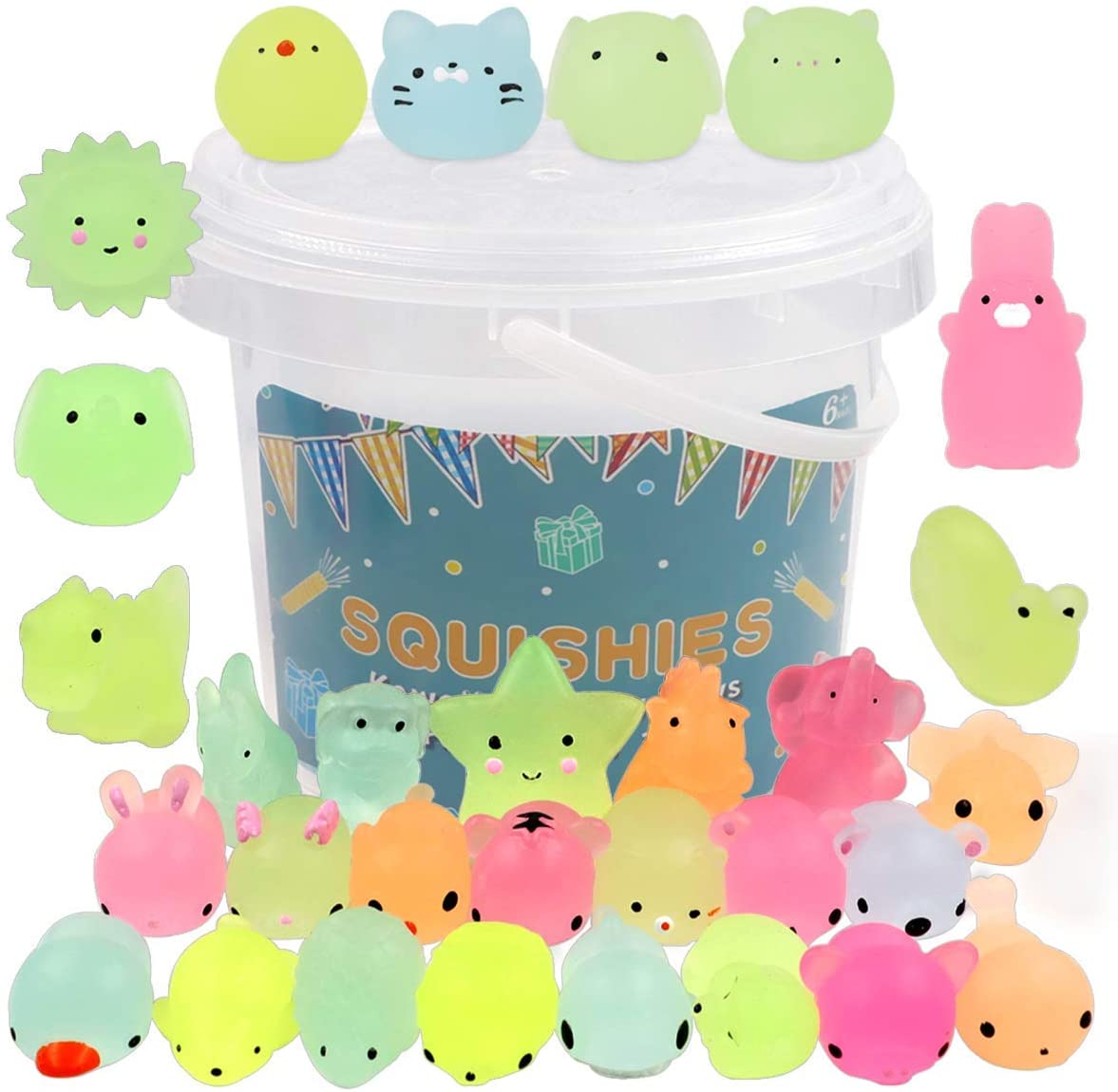 POKONBOY 23 Pack Squishies Mochi Squishy Toys Glow in The Dark Party Favors for Kids - Mini Kawaii Squishies Mochi Animals Stress Relief Squishy Pack Squishy Cat Squishys with Storage Box
