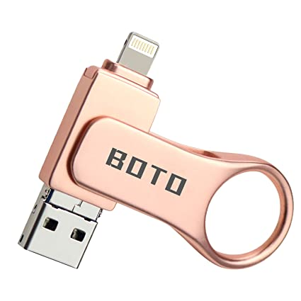 USB Flash Drive for iPhone iOS External Storage,BOTO 128gbUSB 3 0 Jump  Drive 3-in-1 Lightning Memory Storage Pen Drive for iPad iPhone Android  (Rose
