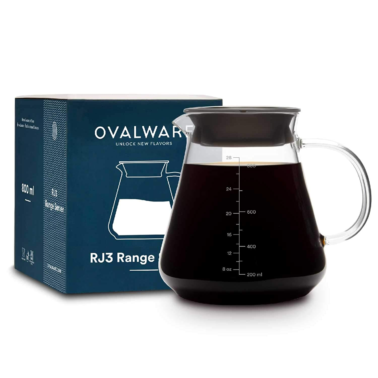 Coffee Server RJ3 Range By Ovalware – 2.5mm Thick, Microwave Safe & Heatproof Glass Body That Prevents Heat Loss – BPA Free Lid – Minimal Design - Easy To Use & Clean – Ideal For Coffee & Tea Brewing