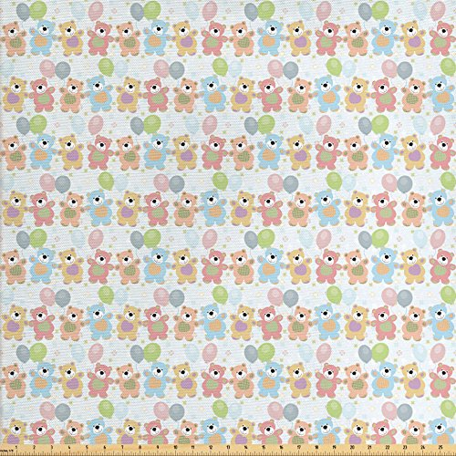 Ambesonne Nursery Fabric by the Yard, Happy Teddy Bears Balloons Celebrating Cute Drawing Effect, Decorative Fabric for Upholstery and Home Accents, Pale Pink Pale Yellow Pale Blue Accents Teddy