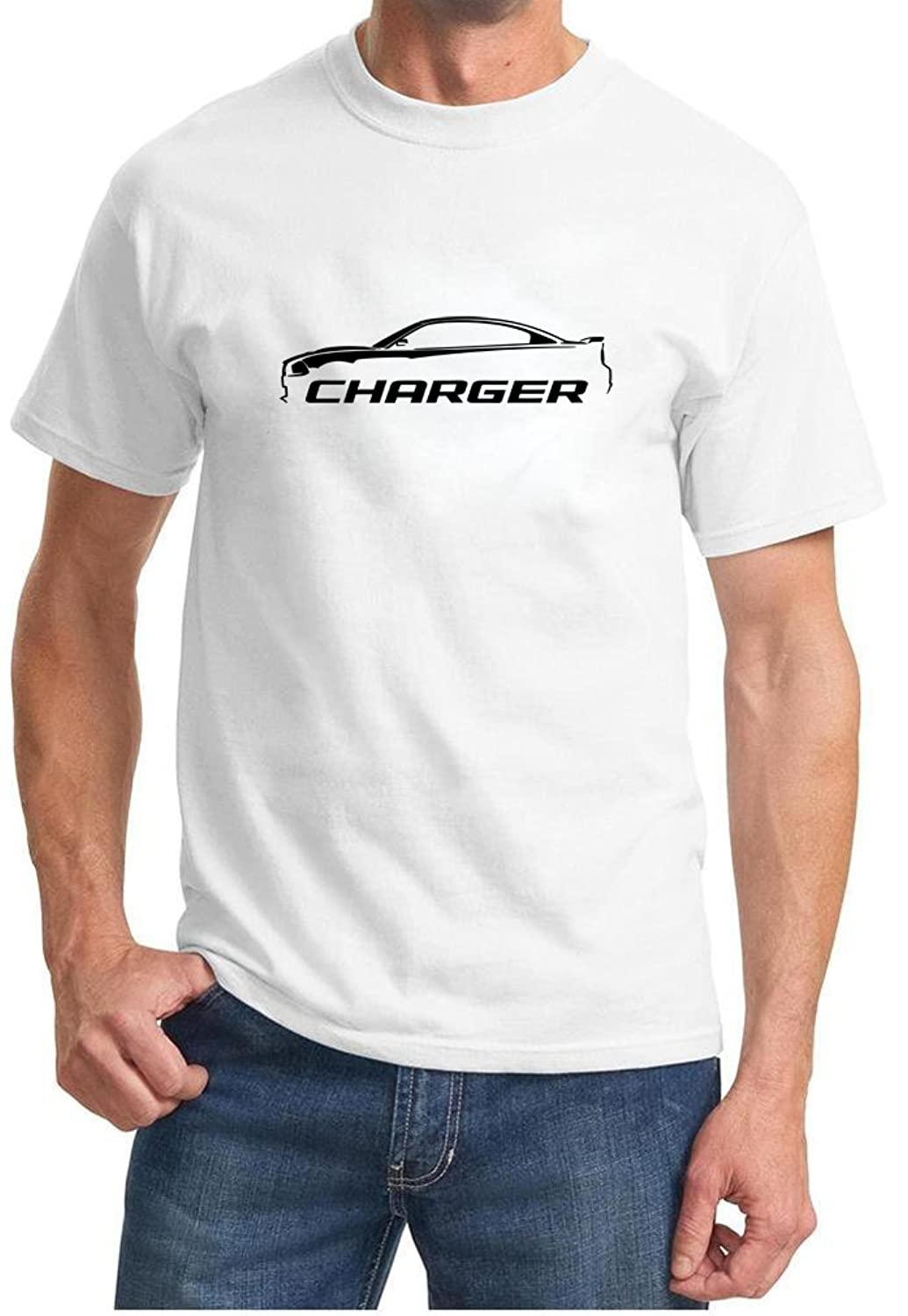 2010-14 Dodge Charger Classic Outline Design Tshirt 3XL white