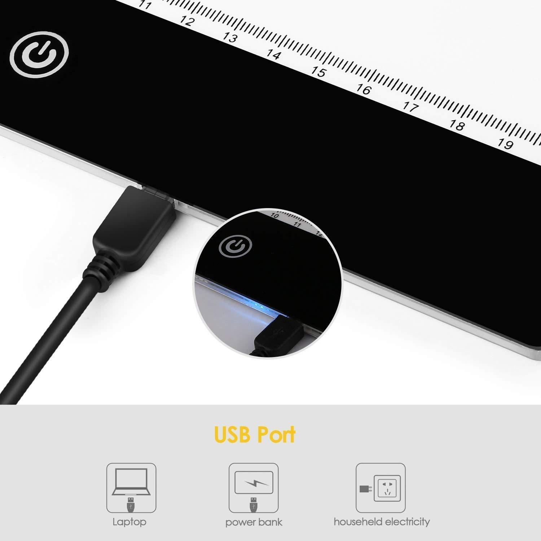 Amzdeal Tableros de Dibujo Portátil A4, Mesa de Luz Dibujo Ultradelgadocon Panel Táctil y Óptico Inteligente, Interfaz USB: Amazon.es: Hogar
