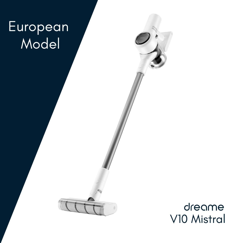 Dreame V10 Mistral - Aspirador sin Cables, Modelo Europeo, Tecnología de Reducción de Ruido, 100.000 RPM, 60 min, Blanco, 450 W