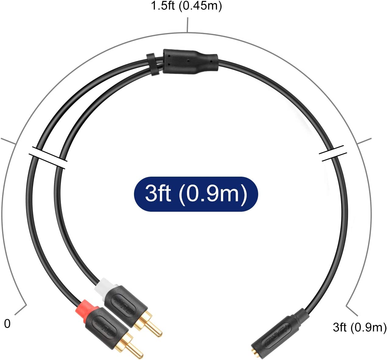3.5mm Femelle /à 2 RCA M/âle Adaptateur Audio st/ér/éo Y Splitter C/âble RCA C/âble Plaqu/é Or 2.7 Meter J/&D 3.5 mm to 2RCA C/âble S/érie Audiowave