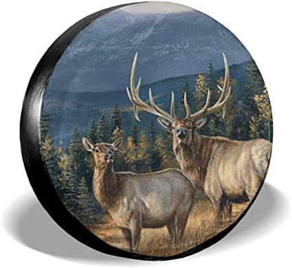 RV Trailer NFREYA Spare Tire Cover Elk in Snow Polyester Universal Waterproof Sunscreen Wheel Covers for Jeep Truck and Many Vehicles SUV