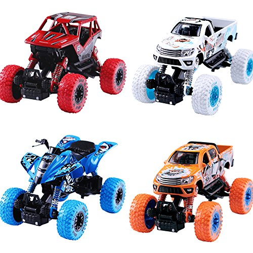 iPlay, iLearn Monster Truck Toys Set, 1:30 Large Pull Back Play Vehicles, Friction Powered, Big Wheels Cars Model, Learning Gift for Age 2, 3, 4, 5, 6, 7 Year Olds Toddlers, Boys, Girls, Little Kids