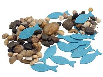 Amazon De Unbekannt Streudeko Kieselsteine Fische Gold Blau