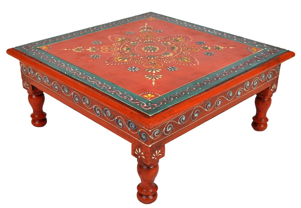 Lalhaveli Traditional Handpainted Work Design Wooden Bajot Table Footstool For Christmas Gift 13 X 13 X 5.5 Inches