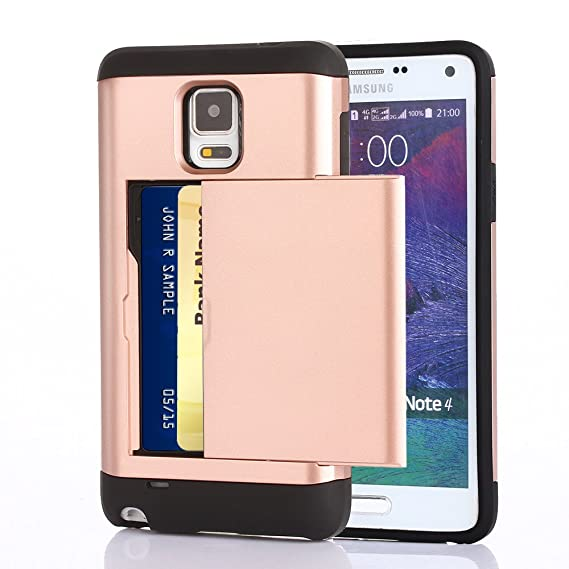new arrival 5a8b1 d3512 Galaxy Note 4 Case, CaseTop [Easy Card Access] Sliding Back Door Card  Holder Wallet Case - Hybrid TPU PC Cover - For Samsung Galaxy Note 4, Rose  Gold