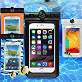Waterproof Case for Apple iPhone 6 5S 5C 5, Samsung Galaxy S6 and S6 Edge S5 S4 - [Black] Universal Ultrapouch Waterproof Pouch with Touch Responsive Front and Back Transparent Screen Protector Windows fits any version of Apple iPhone 6S 4S 4 3, iPod Touch; Galaxy Note 3 2; LG Optimus G2, G2 Mini, G Pro; HTC One M8,M7,M4,Mini;Google Nexus 5 4;Droid DNA;MP3 Player(A.K.A IPX8 Certified Protective Smartphone Waterproof Life Pouch / Credit Card Waterproof Bag Case) (Black)
