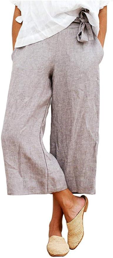 Mujer 3/4 Pantalones de Harén, Suelto Pantalones Palazzo de Pantalón Ancho de Lino y Algodón Harén Color Sólido Tallas Grandes Pantalones Baggy de Holgados Estiramiento Cintura Alta Moda Pilates MOVERV: Amazon.es: Ropa