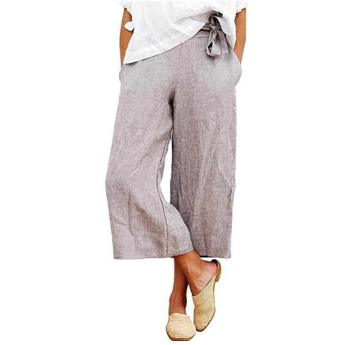 Mujer 3/4 Pantalones de Harén, Suelto Pantalones Palazzo de ...