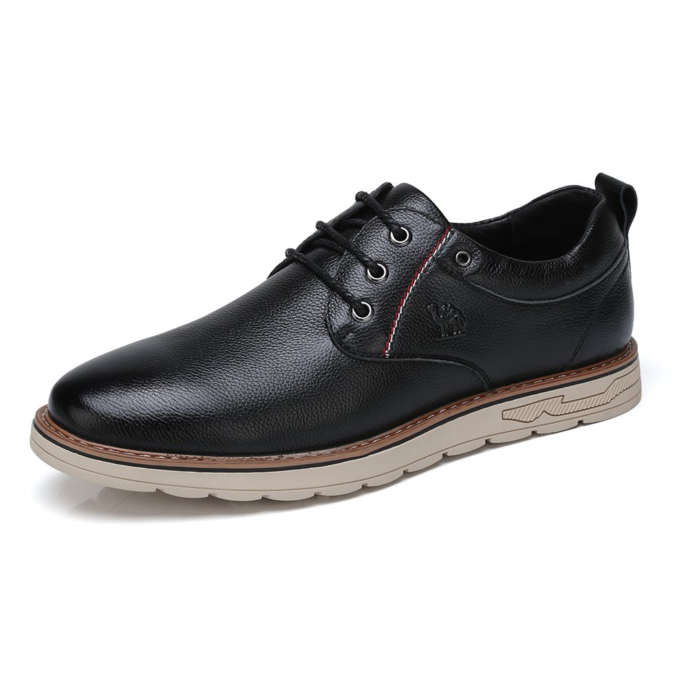Camel Men's Casual Shoes Genuine Oxfords Leather Shoes Business Soft Full Grain Lace-up Shoes Round Toe Shoes