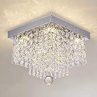 Crystal Ceiling Light Modern Square Chandelier Lighting for Hallway Entrance Raindrop Design (White Light Source/Warm…