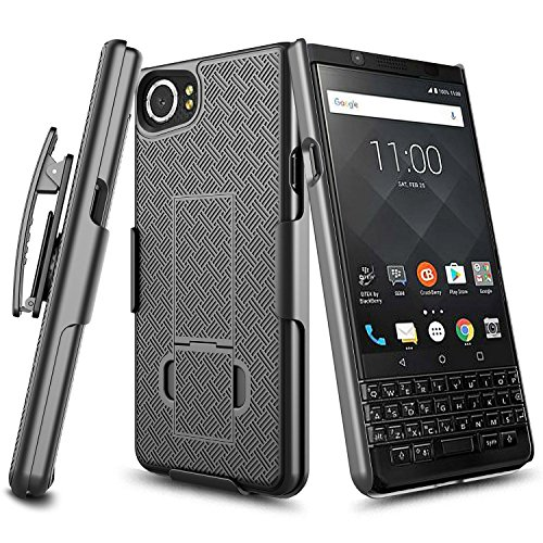 (BlackBerry KEYone Black Phone Case, Kickstand Holster Combo Case Belt Clip Slim Shell for BlackBerry KEYone Phone Protection Cover (Verizon/AT&T/Sprint/Unlocked) by Zase (Black Holster Combo Case))